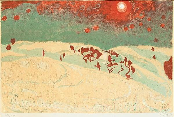 Sunset in a snowy landscape - Cuno Amiet