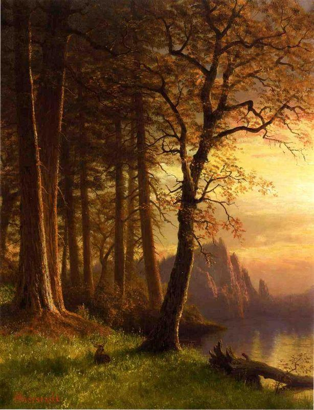 Sunset in California Yosemite - Albert Bierstadt