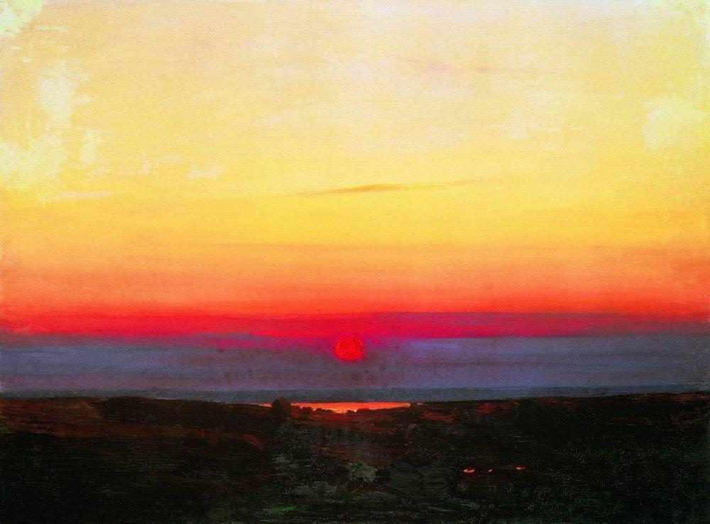 Sunset in the steppes by the sea - Arkhip Kuindzhi