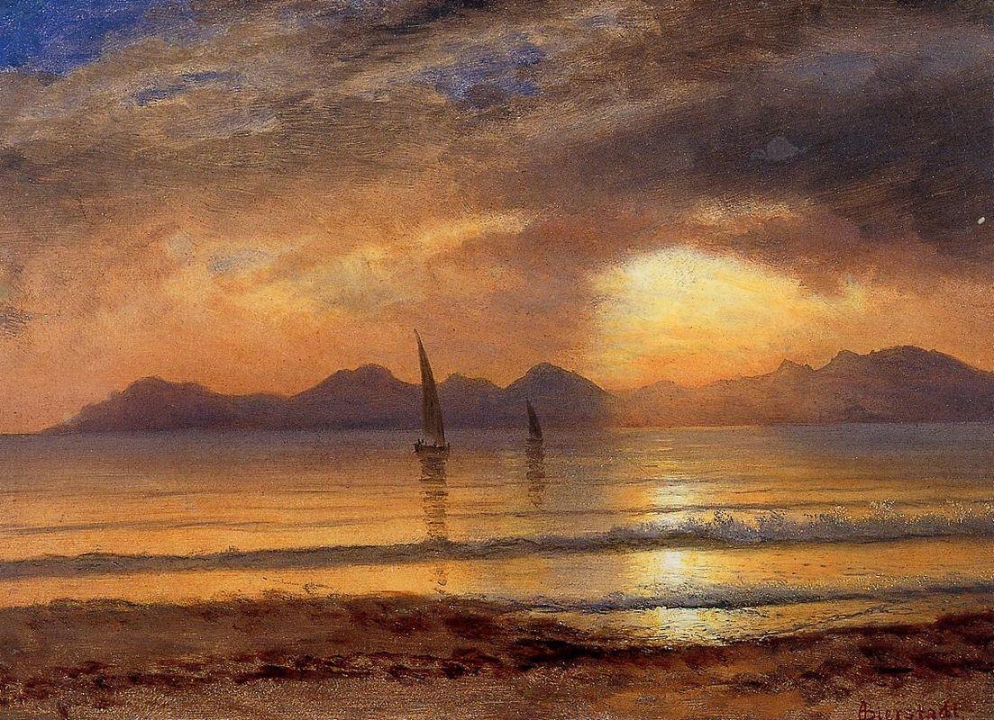 Sunset over a Mountain Lake - Albert Bierstadt
