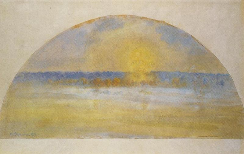 Sunset with Mist, Eragny - Camille Pissarro