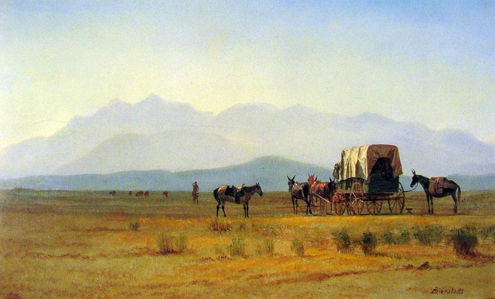 Surveyors Wagon in the Rockies - Albert Bierstadt