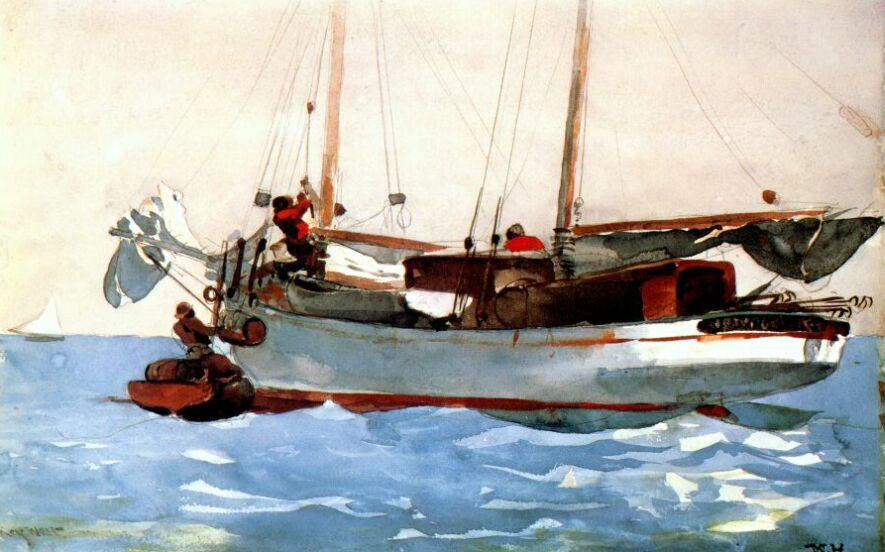 Taking on wet provisions - Winslow Homer