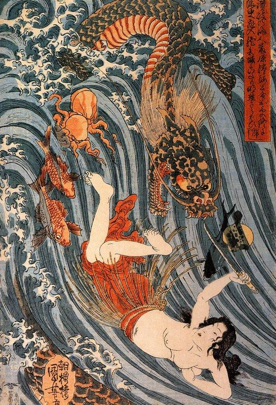 Tamatori being pursued bya dragon - Utagawa Kuniyoshi
