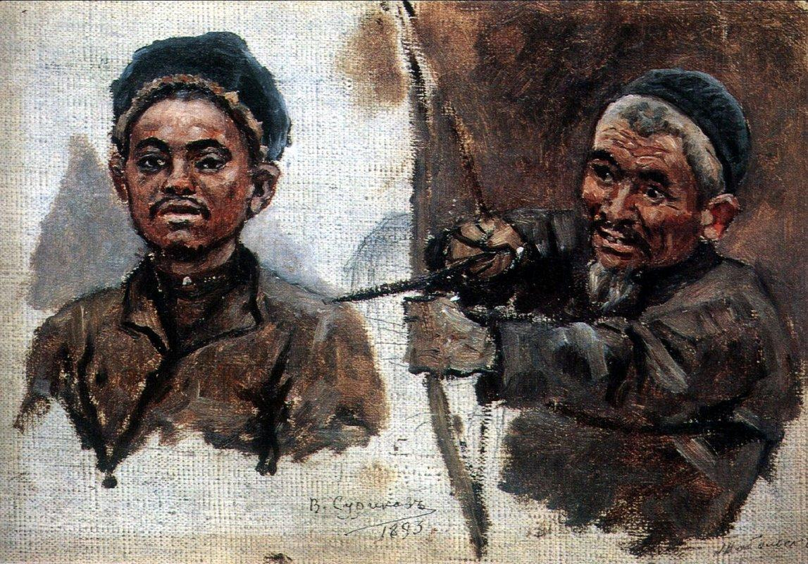 Tatar's heads (old and young) - Vasily Surikov