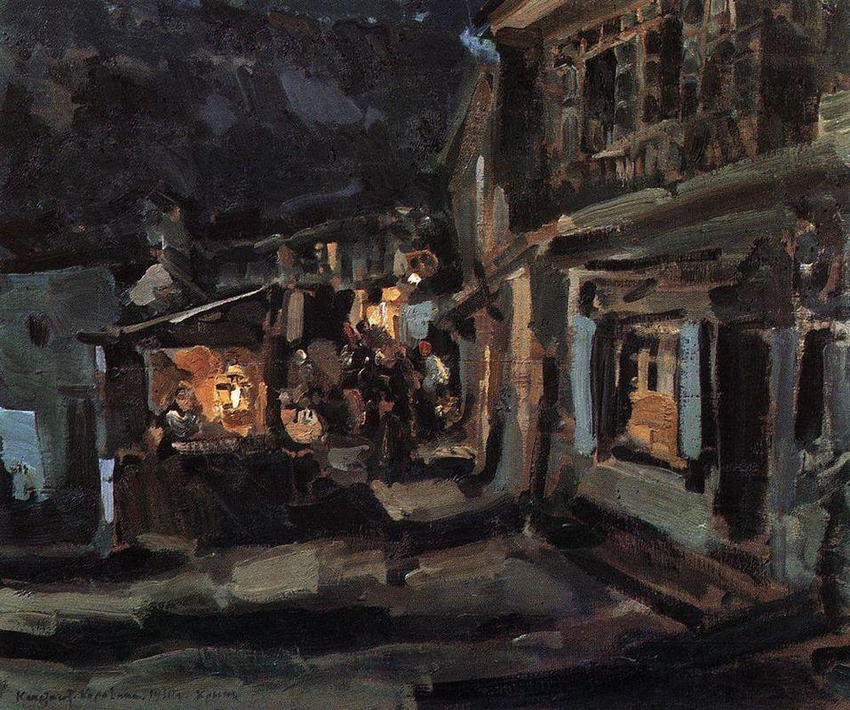 Tatar street in Yalta. Night. - Konstantin Korovin