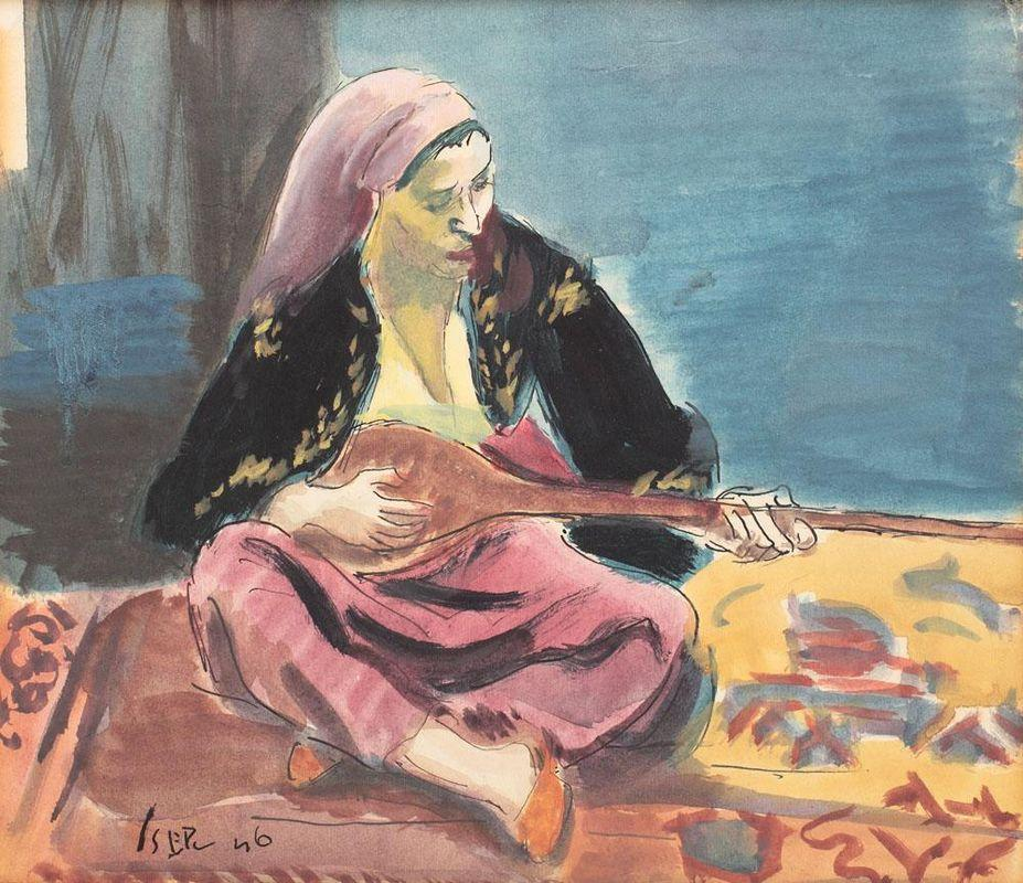 Tatar Woman With Mandoline - Iosif Iser