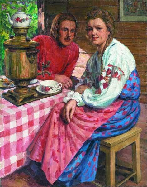 Tea-Drinking - Nikolay Bogdanov-Belsky