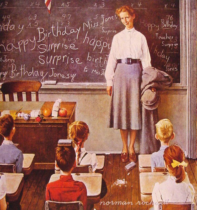 Teacher's Birthday - Norman Rockwell