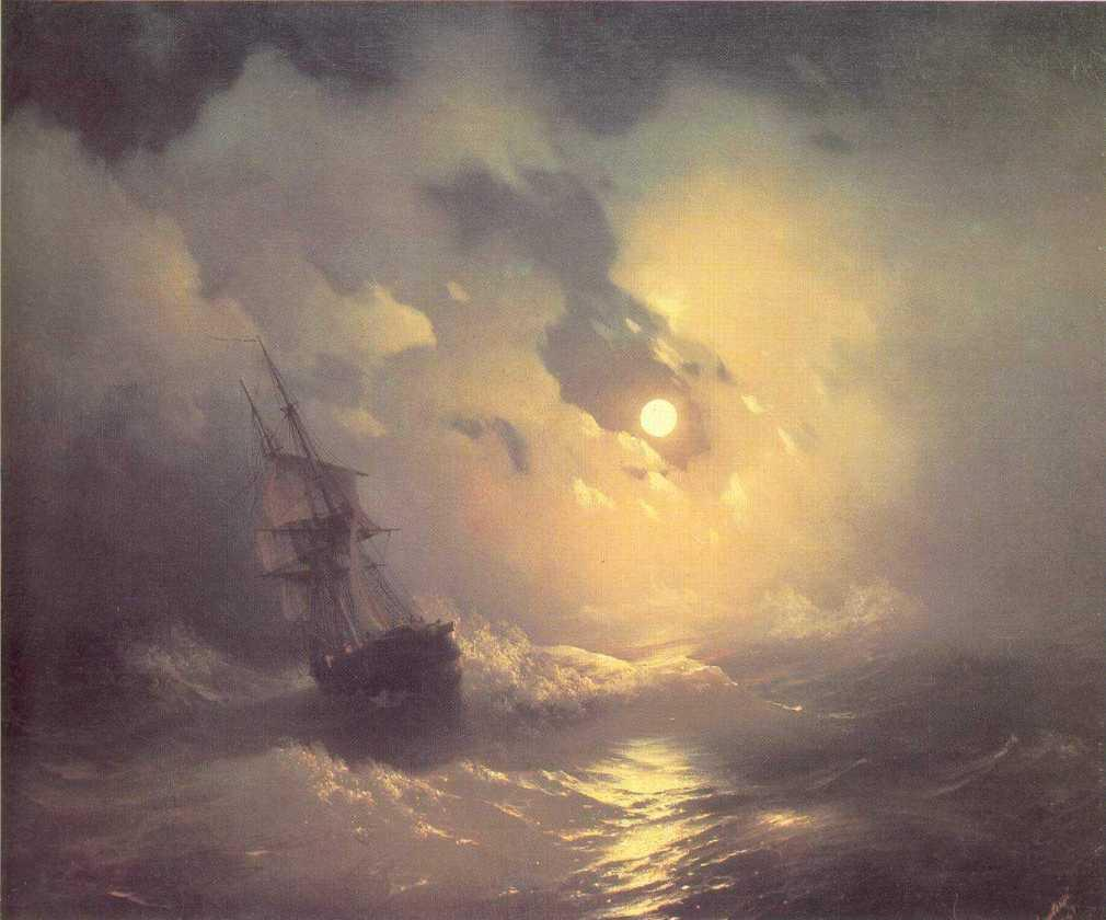 Tempest on the sea at nidht - Ivan Aivazovsky