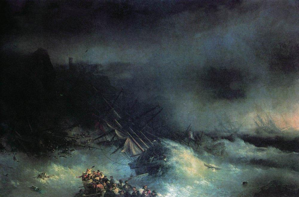 Tempest. Shipwreck of the foreign ship - Ivan Aivazovsky