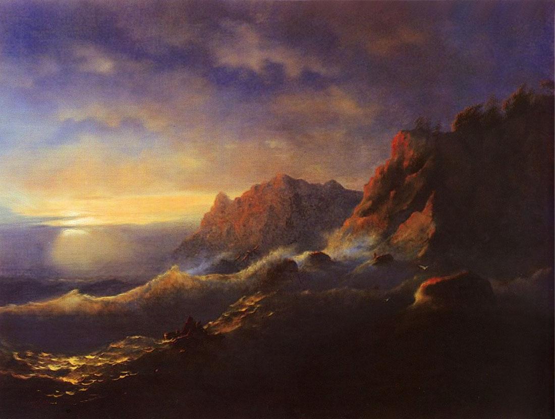 Tempest. Sunset - Ivan Aivazovsky