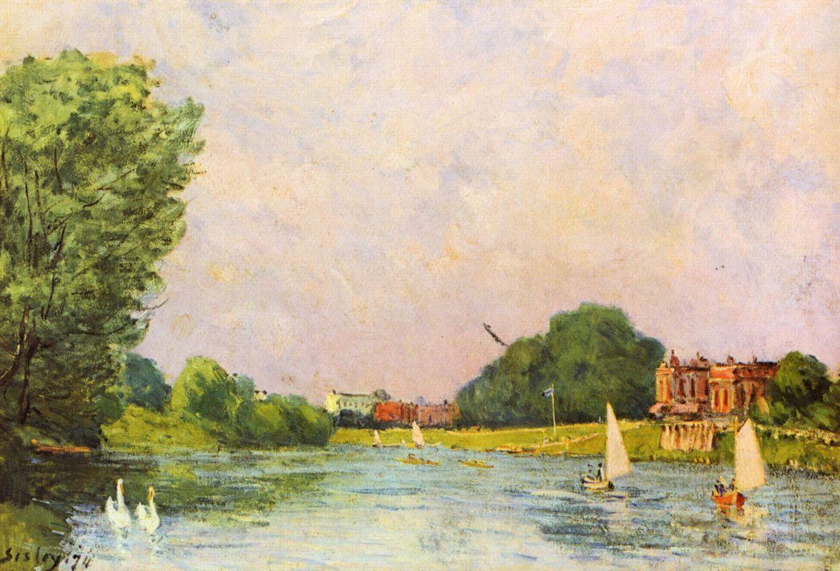 Thames at Hampton Court - Alfred Sisley