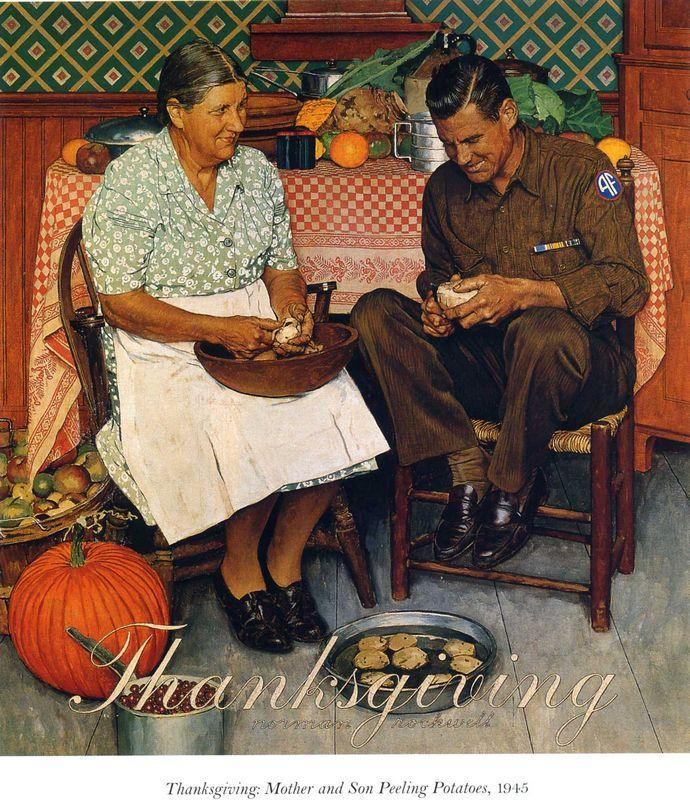 Thanksgiving Mother and Son Peeling Potatoes - Norman Rockwell