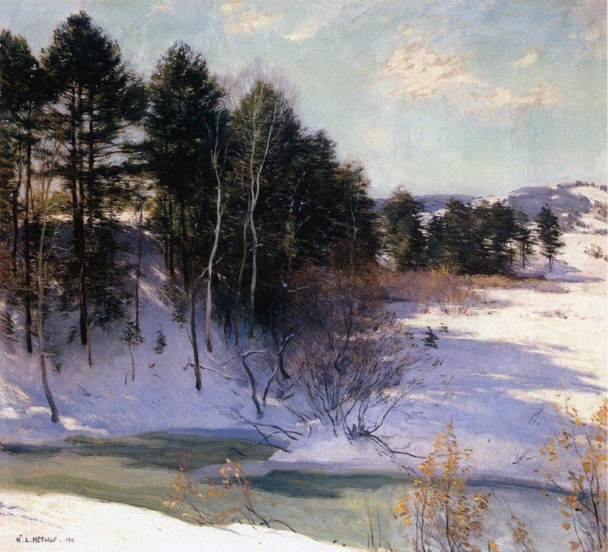Thawing Brook (Winter Shadows)  - Willard Metcalf