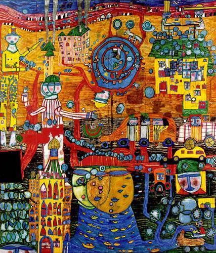 936 The 30 Days Fax Painting - Friedensreich Hundertwasser