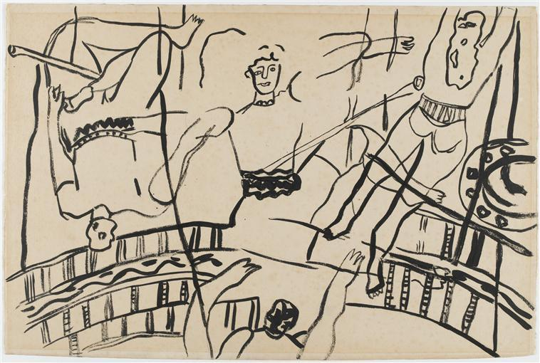 The acrobats, study for the circus  - Fernand Leger