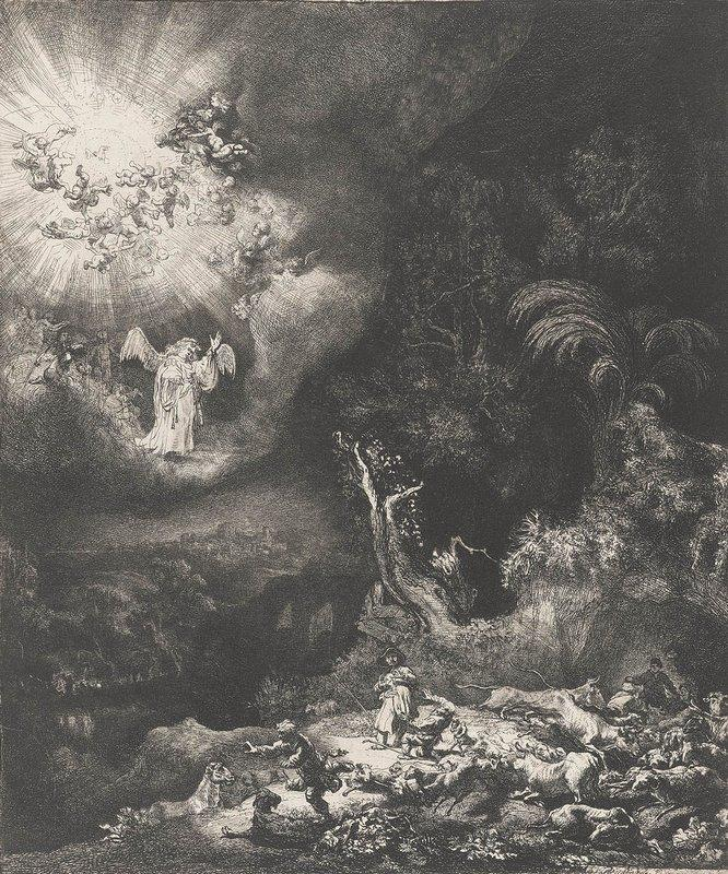 The angel appearing to the shepherds - Rembrandt