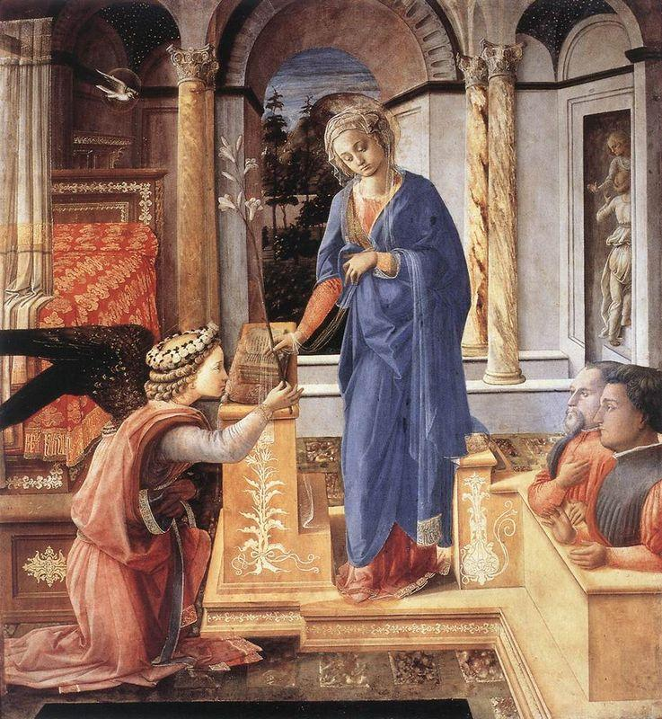The Annunciation with two Kneeling Donors - Filippo Lippi