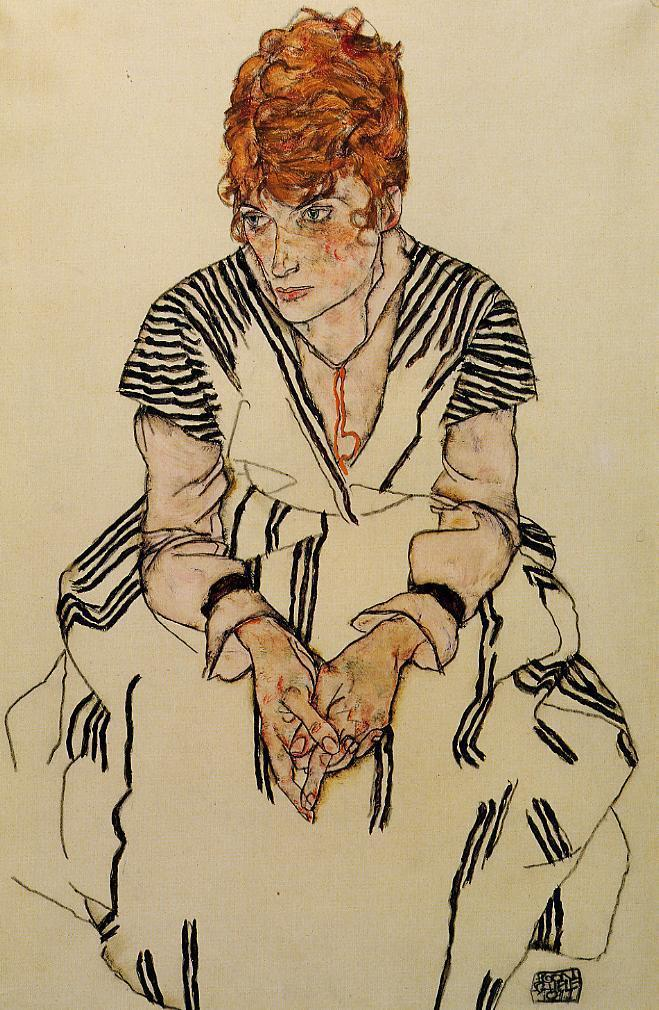The Artist's Sister in Law in a Striped Dress - Egon Schiele
