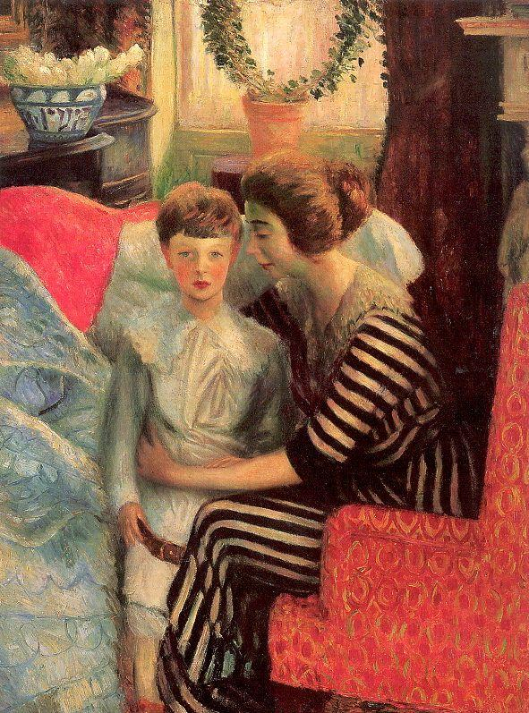 The artist's wife and son - William James Glackens