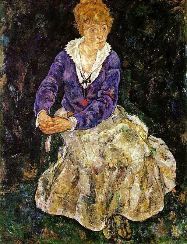 The Artist's wife seated - Egon Schiele