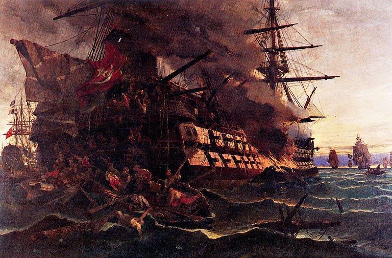 The attack on the Turkish flagship in the Gulf of Eressos at the Greek island of Lesvos by a fire ship commanded by Dimitrios Papanikolis - Konstantinos Volanakis