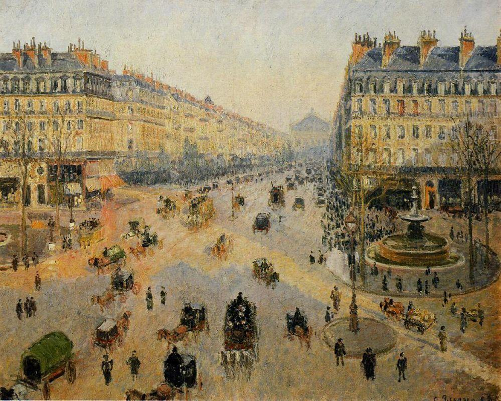The Avenue de L'Opera, Paris, Sunlight, Winter Morning - Camille Pissarro