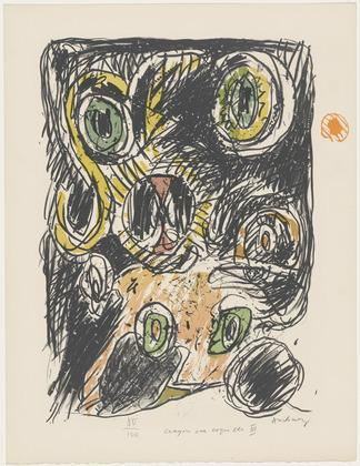 The Bag of Lines (Le sac des lignes) from the portfolio Pencil on Shell (Crayon sur coquille) 1971 - Pierre Alechinsky