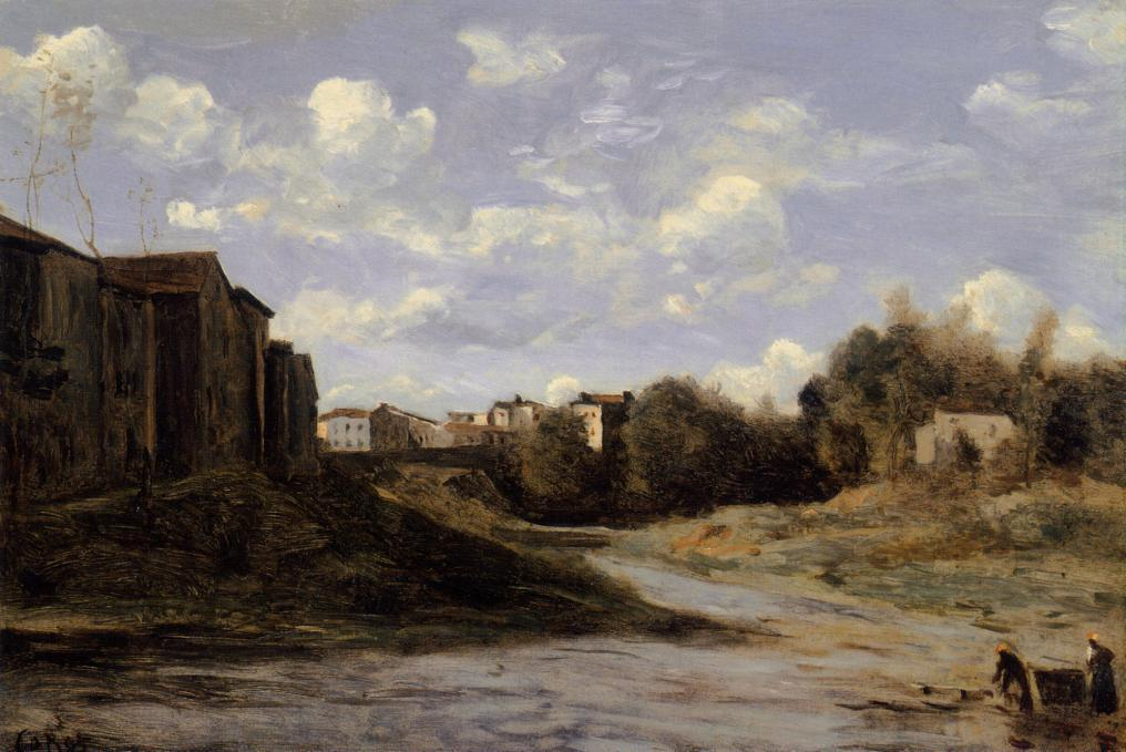 The Banks of the Midouze, Mont de Marsan, as Seen from the Pont du Commerce - Camille Corot