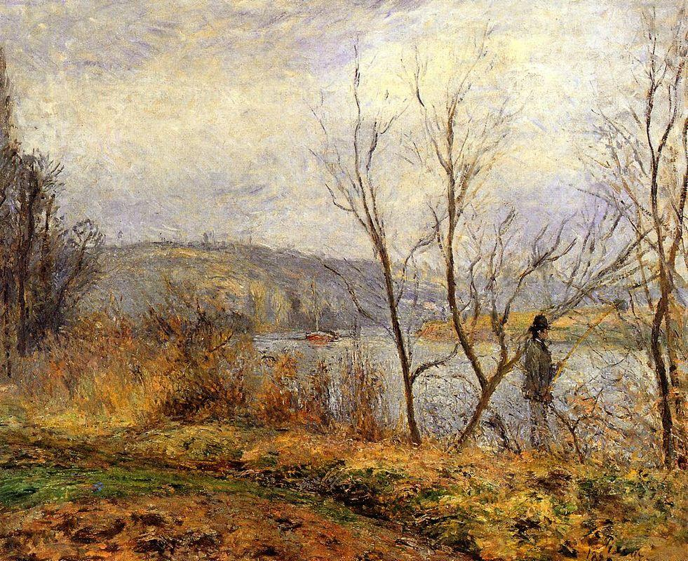 The Banks of the Oise, Pontoise (also known as Man Fishing) - Camille Pissarro