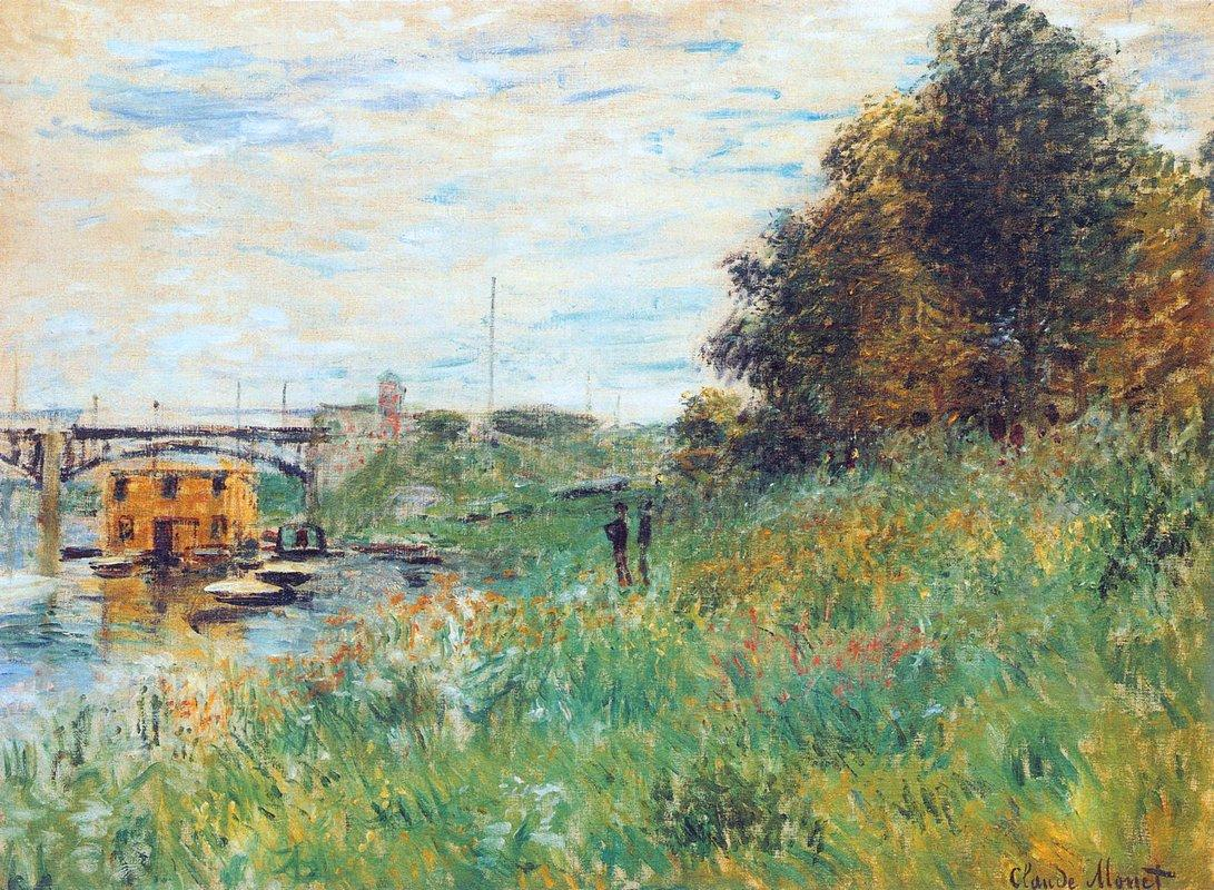 The Banks of the Seine at the Argenteuil Bridge - Claude Monet