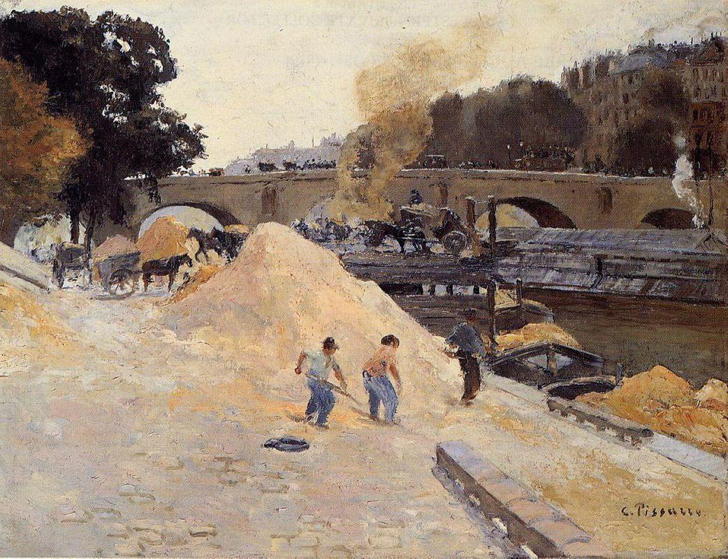 The Banks of the Seine in Paris, Pont Marie, Quai d'Anjou - Camille Pissarro