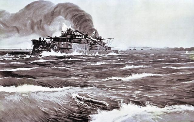 The Battle of Tsushima. Last minutes of battleship Prince Suvorov. - Ivan Vladimirov