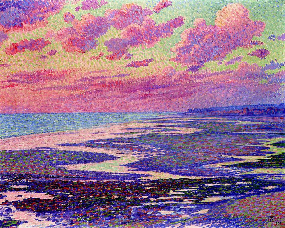 The Beach at Ambleteuse at Low Tide - Theo van Rysselberghe