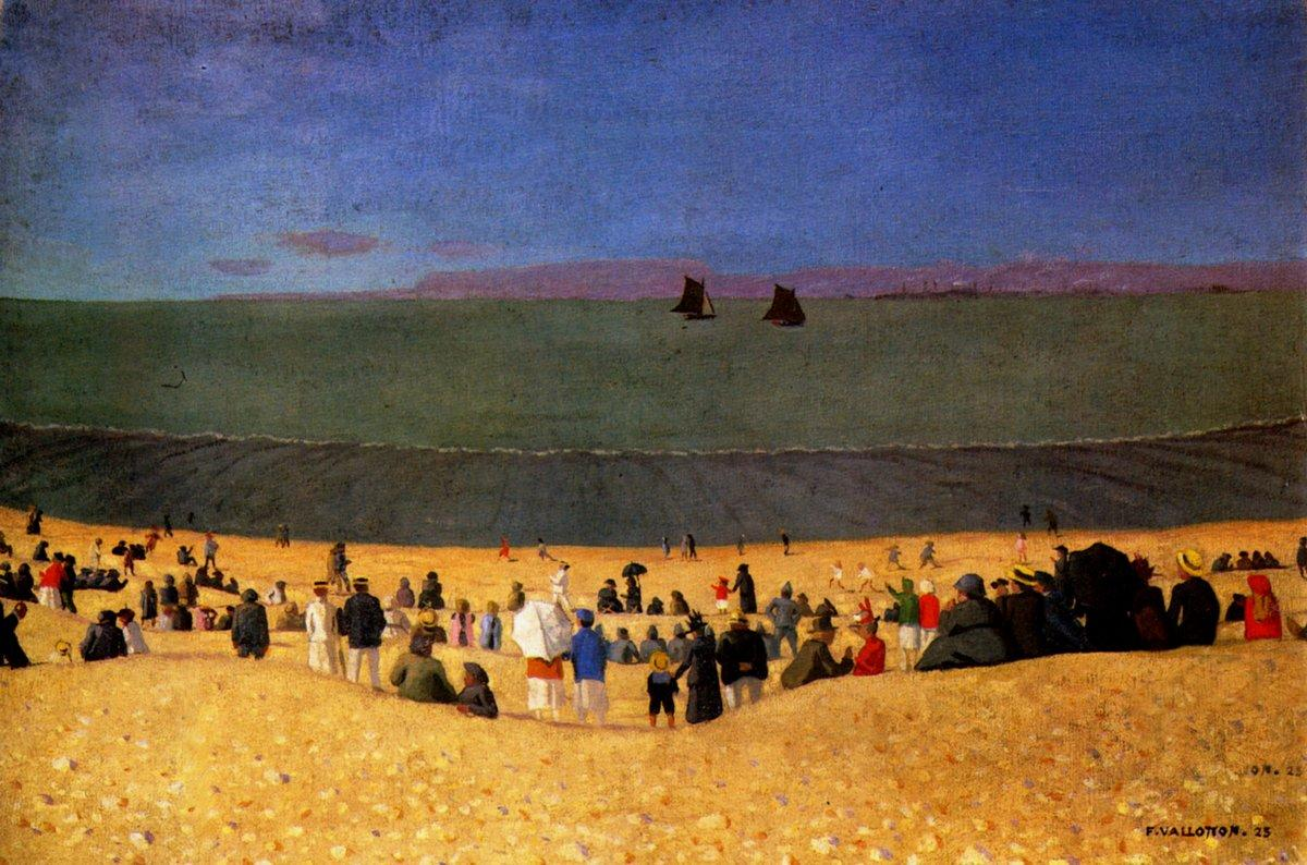 The Beach with Honfleur gold Beach with Multitude off figures - Felix Vallotton