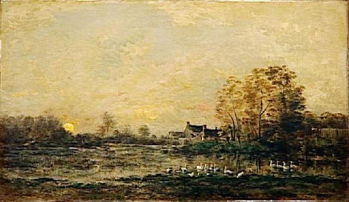 The bog in the sunset - Charles-Francois Daubigny