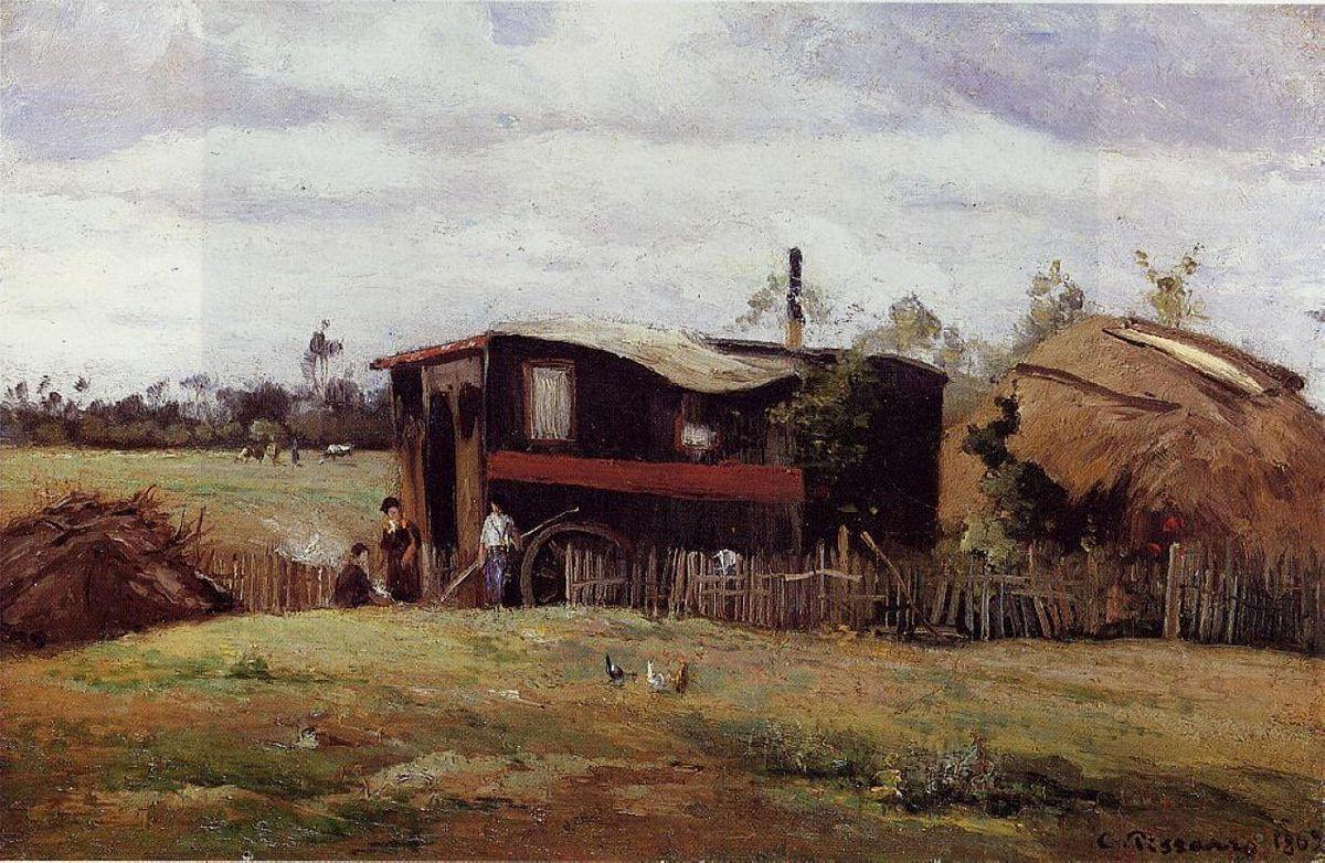 The bohemian's wagon - Camille Pissarro