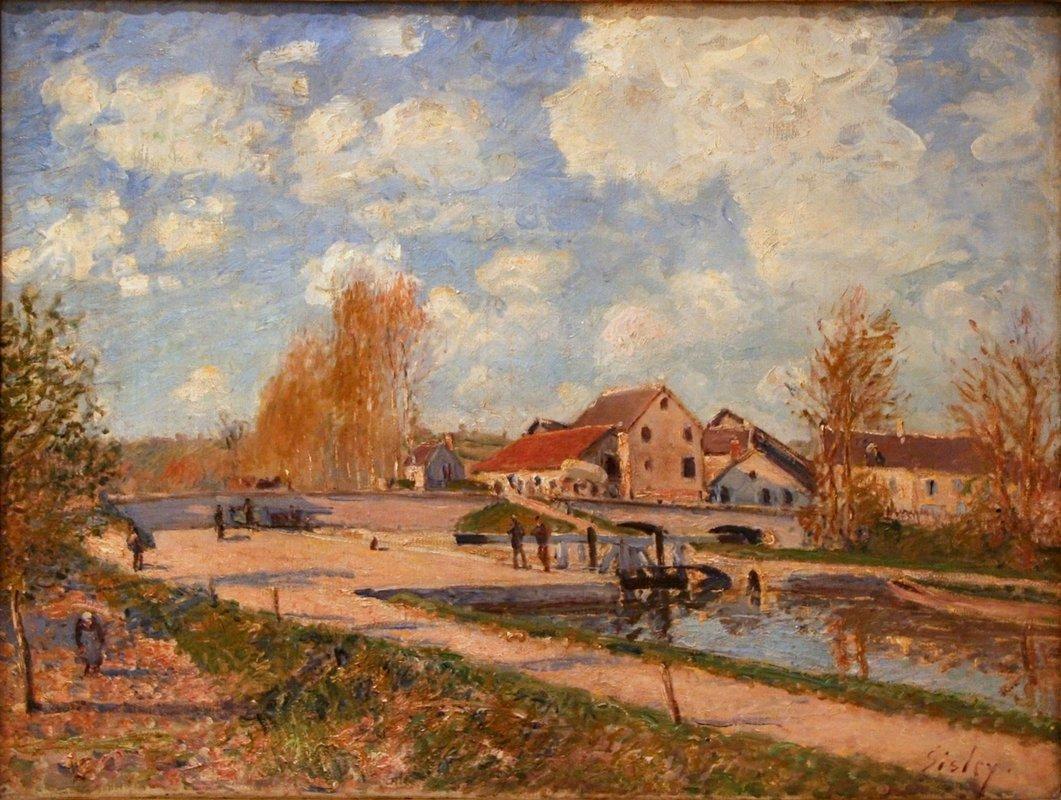The Bourgogne Lock at Moret, Spring - Alfred Sisley