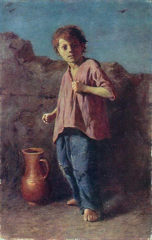 The boy, preparing for a fight  - Vasily Perov