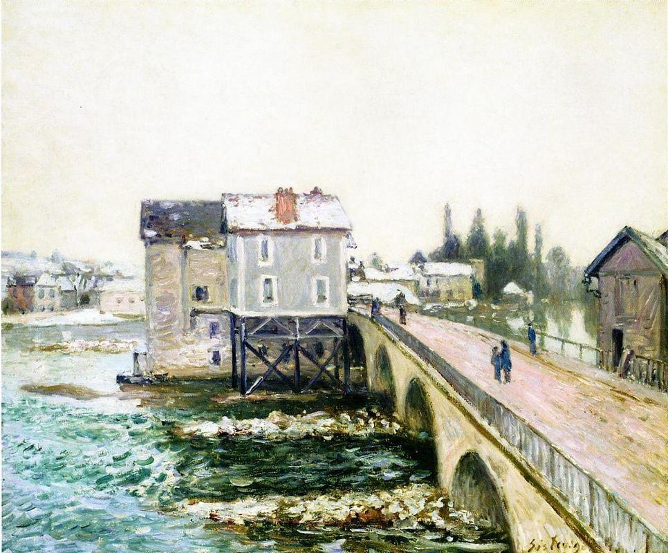 The Bridge and Mills of Moret, Winter s Effect - Alfred Sisley