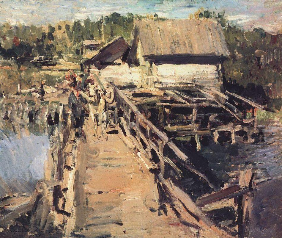 The bridge at the mill  - Konstantin Korovin