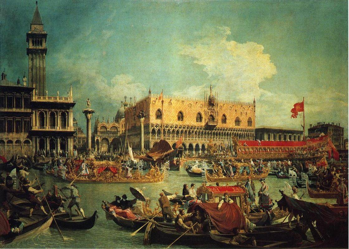 The Bucintgoro by the Molo on Ascension Day - Canaletto