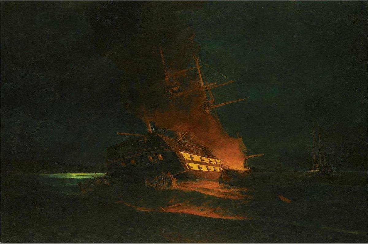 The burning of a Turkish frigate - Konstantinos Volanakis