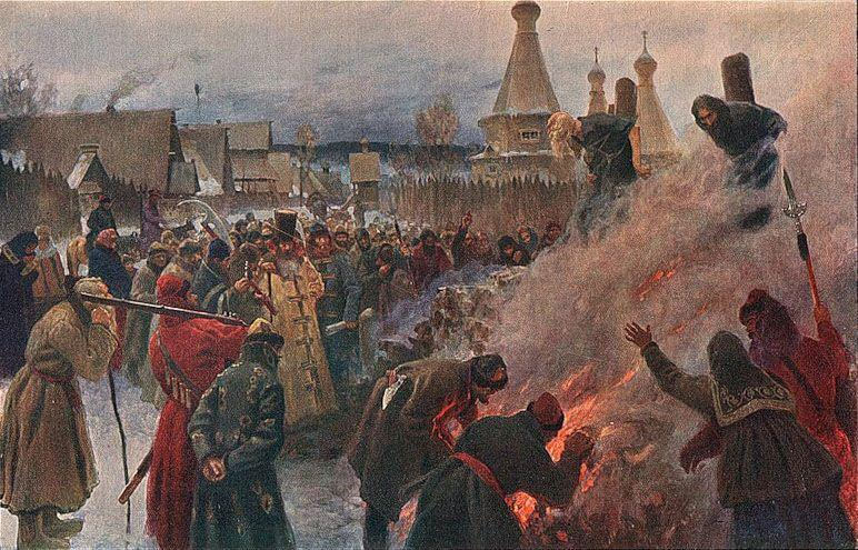 The burning of Archpriest Avvakum - Grigoriy Myasoyedov