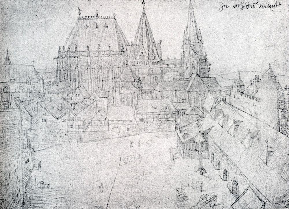 The Cathedral Of Aix La Chapelle With Its Surroundings, Seen From The Coronation Hall - Albrecht Durer
