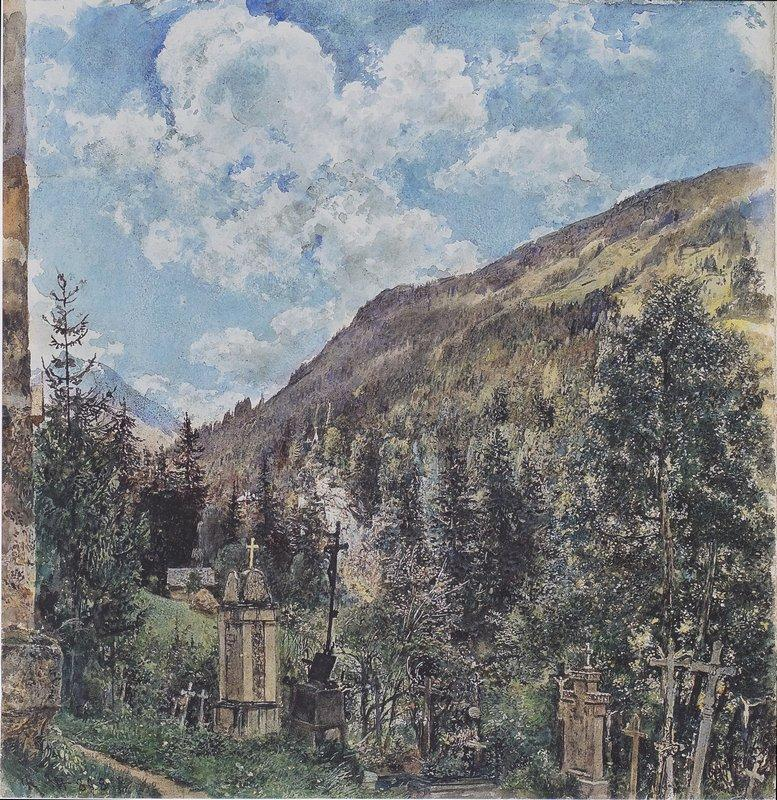 The cemetery in Gastein - Rudolf von Alt