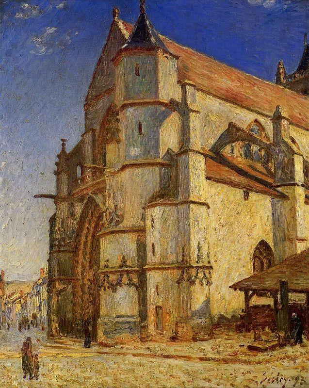 The Church at Moret in Morning Sun - Alfred Sisley