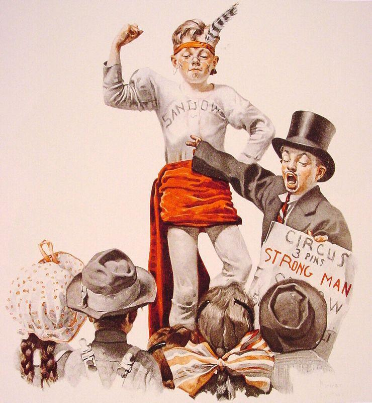 The Circus Barker - Norman Rockwell