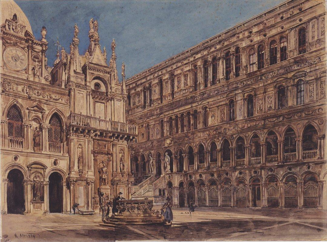 The courtyard of the Doge's Palace in Venice - Rudolf von Alt